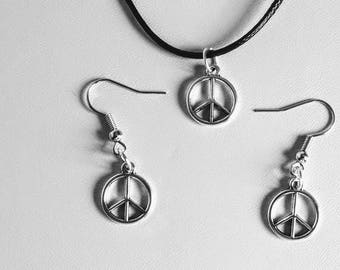 Peace Symbol Necklace and Earring Set Black leather Cord Necklace with Peace Sign Pendant and Hook Earrings with Peace Sign Pendant