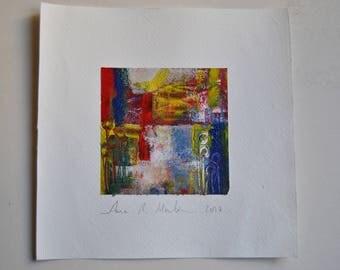 Original abstract acrylic painting. Small series, abstract pictures, in acrylic. Painting 10 cm x 10 cm