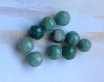Ten Faceted Chrysoprase  Beads, Faceted Round Chrysoprase Beads, Genuine Chrysoprase, Natural Gemstone