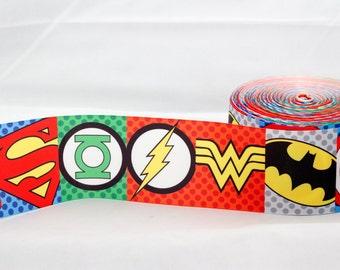 """Super Hero 3"""" 75mm Width Grosgrain Ribbon per metre"""