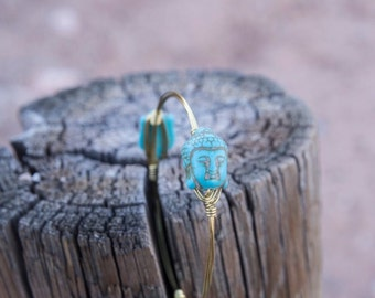 Turquoise Buddha Gold Bangle