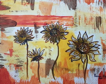 Sunflowers with rustic charm