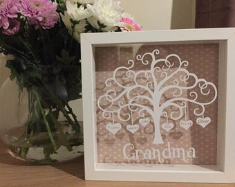 Beautiful Personalised Heart Family Tree Shadow Box Frame, with up to six names