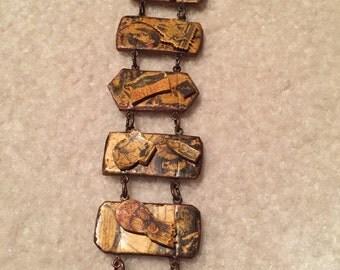 Vintage Artisan Decoupage OOAK Wooden Bracelet