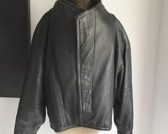 Men's Leather Jacket, Black Leather Jacket, Leather Bomber Coat, Marc Buchanan Pelle Pelle, 1980s Leather Jacket, Retro Men's Jacket, Large