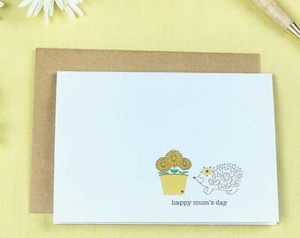 greeting card / happy mum's day / hedgehogs / mother's day