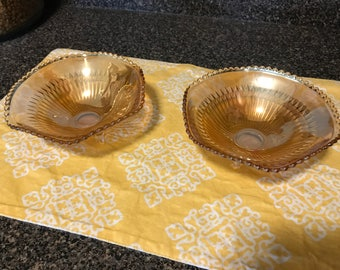 2 Vintage Carnival Glass Footed Bowls