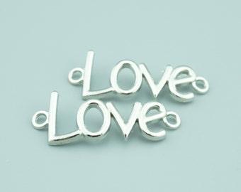 30pcs 16X40mm Antique Silver Love Charm Pendants,Love Connectors,Letter Charms Pendants Connectors Z6701