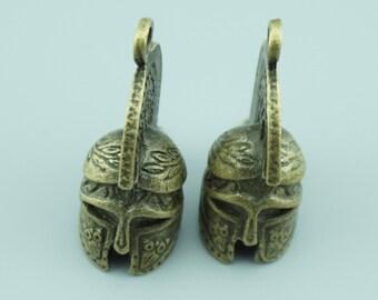 5pcs 37x32x16mm Antique Bronze Helmet Charm Pendants ZD019A