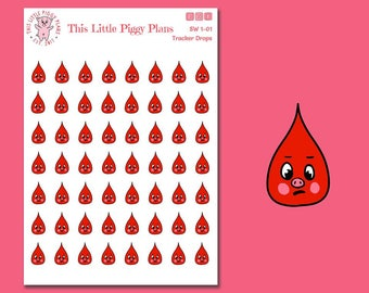 Blood Drop Period Tracker Stickers - Planner Stickers - Shark Week Stickers - [SW 1-01]