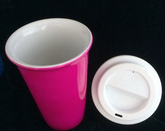 Pink Ceramic Latte Mug with Lid