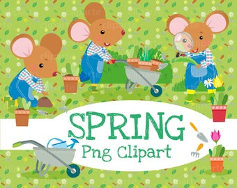 LITTLE MOUSE GARDEN Set Digital Clip Art