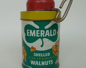 Advertising Tin, Emerald Shelled California Walnuts With Built-In Walnut Grater Top and Cap 1950's