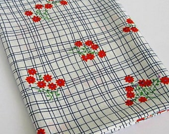 Vintage Floral Polyester Crepe Fabric /20's Style Design/ Retro 60's Orange Flowers with Dark Blue check pattern on White Background