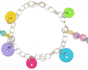 Button & Beads Charm Bracelet (Button Colorful)