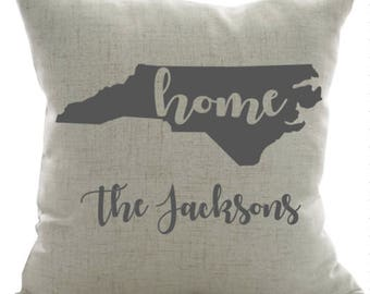 Home Personalized Pillow- Home Pillow, Family Name Pillow, North Carolina Pillow, Personalized Pillow, Wedding Gift, Engagement Gift,