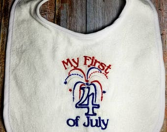 First Forth of July Bib, Baby's First Forth of July, Baby's First Bib, Forth of July Bib