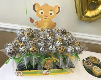 12 Lion King Guard Inspired Safari Animal Print Cake Pops Chocolate Dipped Party Favors Baby Shower Birthday