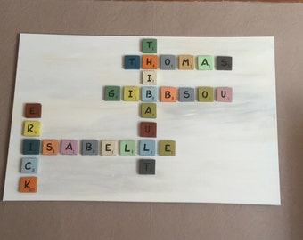 Type letter Scrabble in colors