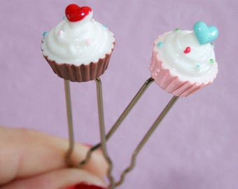 Tiny Cupcake Hair Pins