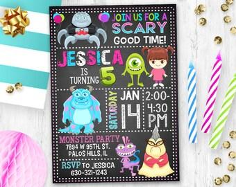 Monster Invitation, Monster Birthday Invitation, Monster Inc Invitation , Monster inc birthday card