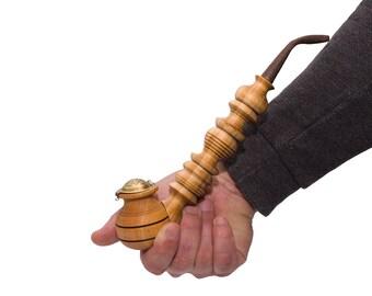 Handmade wooden smoking pipe metal bowl cover tobacco