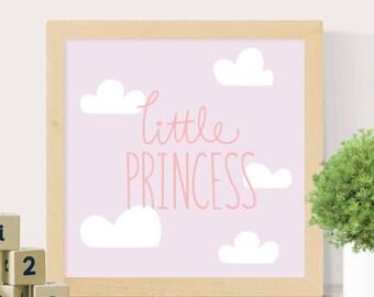 Little princess print, Nursery wall art, Nursery print, Princess nursery, Cloud print, Girls room print, Pink wall art, Digital print