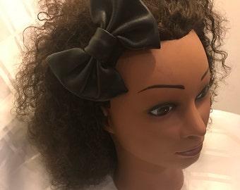 Leatherette Barrette Bow