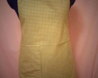 Vintage green and white square apron