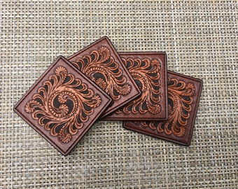 001 Leather Coaster Set (4pc)