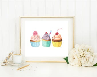 Cupcake poster, cupcake wall art, culinary decor, cupcake nursery, cupcake wall decor, cupcake nursery art, cupcake print, cupcake poster,