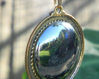 Hematite Pendant Necklace with Brass Setting and Chain