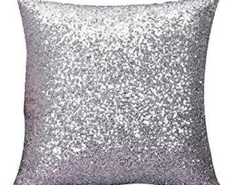 Silver Sequin Glitter Throw Pillow