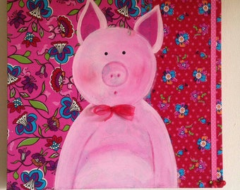 Lovely art for children or in the babyroom, cute pig with different mixed media art