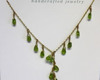 14 Kt Gold Filled Peridot multi drop necklace