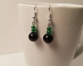 Earrings, Black and green beads, Black bead earrings, black earrings, green earrings