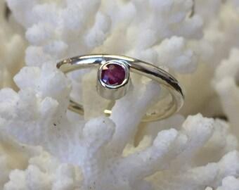 Garnet Sterling Ring