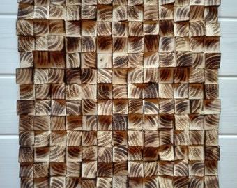 Decoration mosaïque en bois brûlé