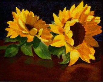Oil Painting, Two Sunflowers