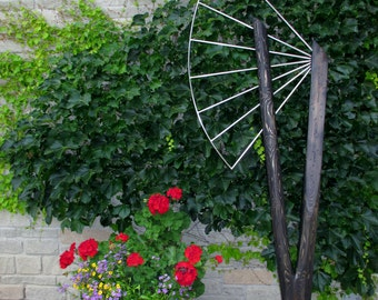 Sprung Free 4 - original contemporary sculpture of wood and stainless steel