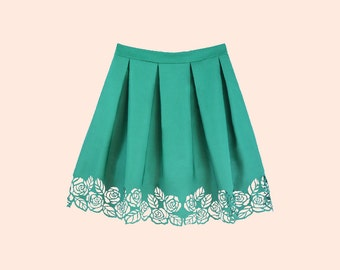 ROSALIA GREEN. Floral Lasercut Skirt, Tucked Skirt