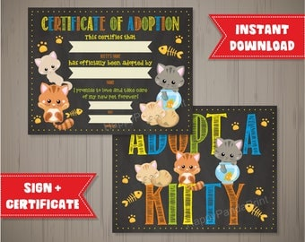 KITTY Adoption Certificate Cat Adoption Certficate Pet Adoption Certificate Adopt a Kitty Sign Adopt a Kitty Party Chalkboard Certificate
