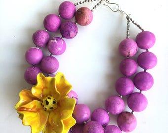 Magenta Flower Necklace