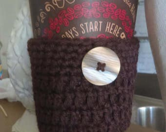 Brown crochet cozy cup
