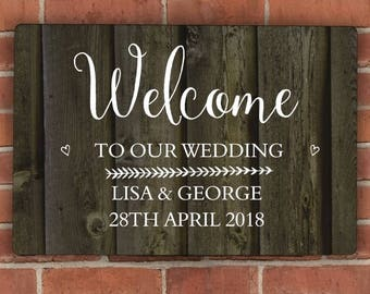 Personalised Walnut Wood Grain Metal Sign Wedding Day Gifts MR & MRS Idea Couple Ideas For New Home House Warming Welcome Plaque