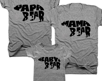 3-Pack Mama Bear, Papa Bear, Baby Bear t-shirt set  (B032)