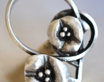 Floral Vine Ring, adjustable, Silver plated Ethnic, Stone, Handcrafted, Engraved