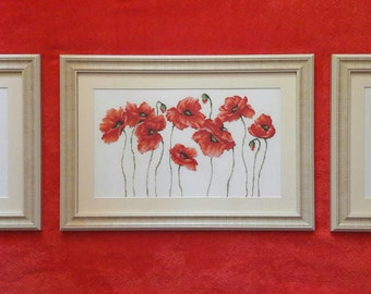"""Goblen-Gobelin-box point of cross/tapestry """"Poppies"""" (3 pieces / 3 pieces)"""