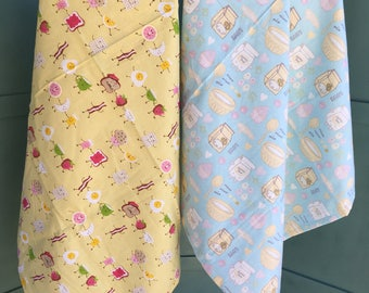 Reciving blankets, flannel baby blanket, silly food blanket, breakfast blanket, baking blanket