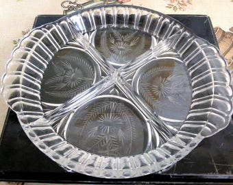 "Large 12"" HORS D'OEUVRE Dish From Country Garden, Edinburgh Hand Cut Lead Crystal BOXED"